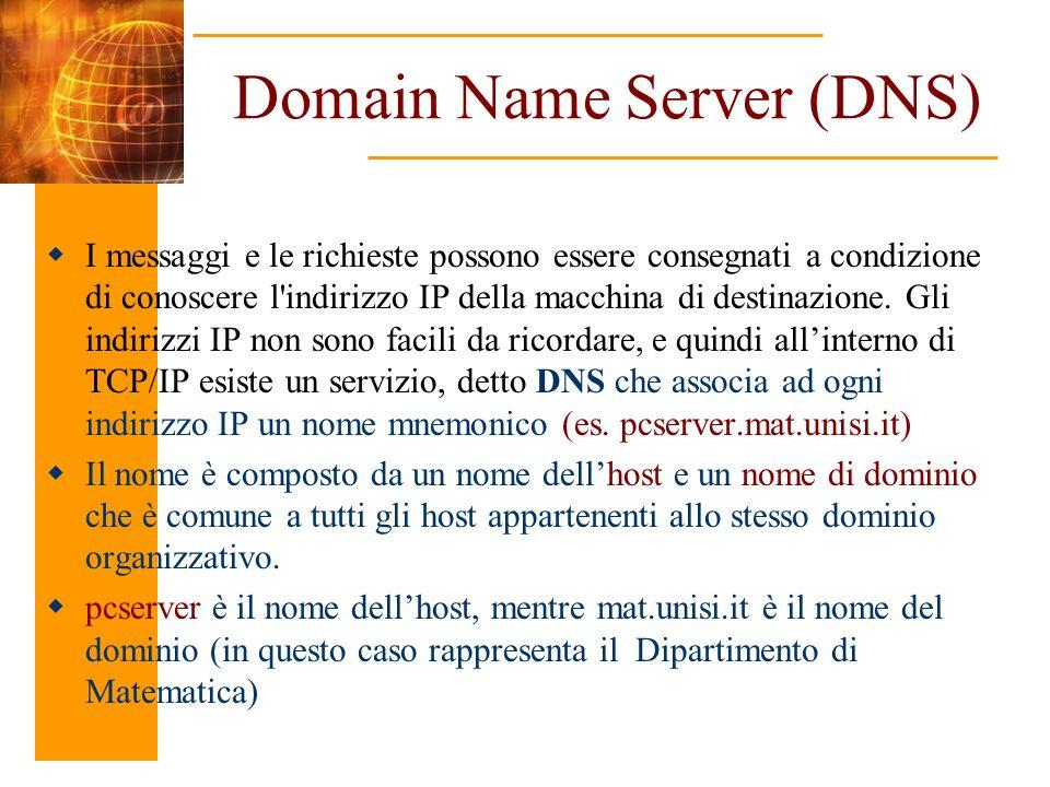 Domain Name Server (DNS) I messaggi e le richieste possono essere consegnati a condizione di conoscere l'indirizzo IP della macchina di destinazione.