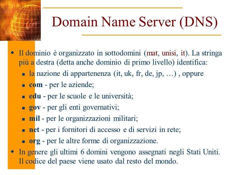 Domain Name Server (DNS) Il dominio è organizzato in sottodomini (mat, unisi, it). La stringa più a destra (detta anche dominio di primo livello) iden
