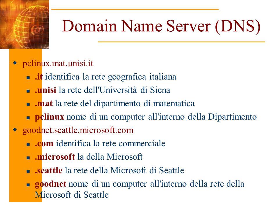 Domain Name Server (DNS) pclinux.mat.unisi.it.it identifica la rete geografica italiana.unisi la rete dell'Università di Siena.mat la rete del diparti