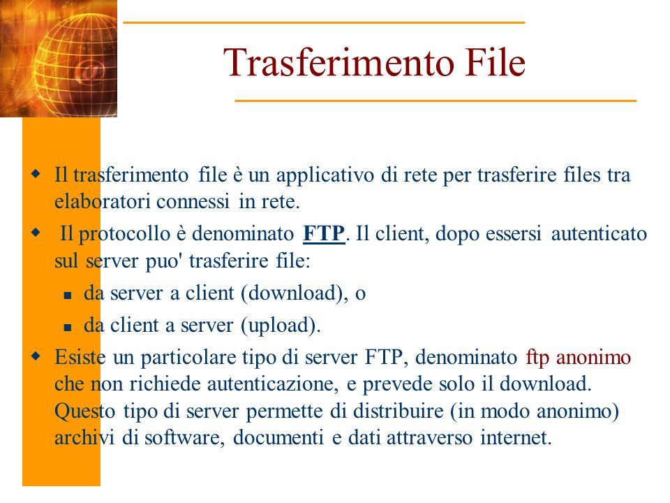 Trasferimento File Il trasferimento file è un applicativo di rete per trasferire files tra elaboratori connessi in rete. Il protocollo è denominato FT