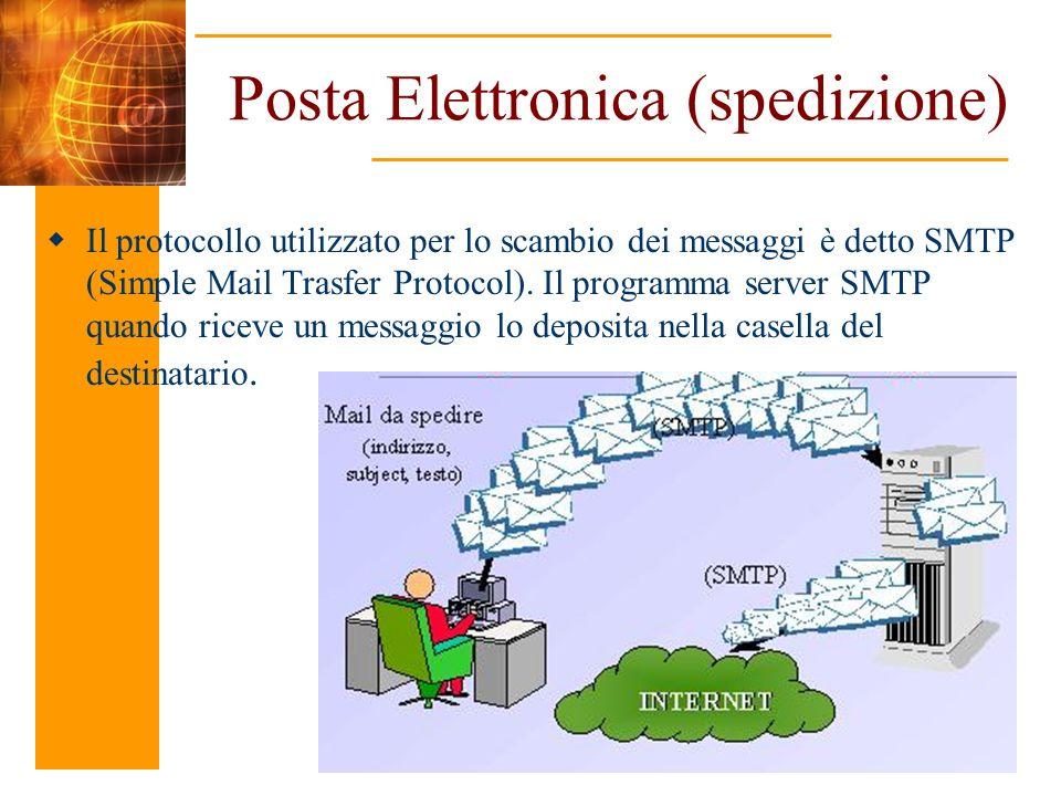 Posta Elettronica (spedizione) Il protocollo utilizzato per lo scambio dei messaggi è detto SMTP (Simple Mail Trasfer Protocol). Il programma server S