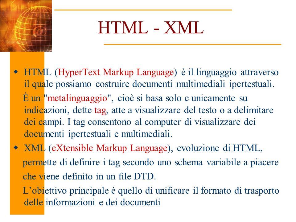 HTML - XML HTML (HyperText Markup Language) è il linguaggio attraverso il quale possiamo costruire documenti multimediali ipertestuali. È un