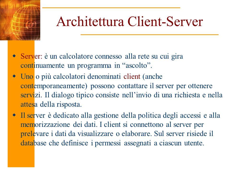 Architettura Client-Server Server: è un calcolatore connesso alla rete su cui gira continuamente un programma in ascolto. Uno o più calcolatori denomi