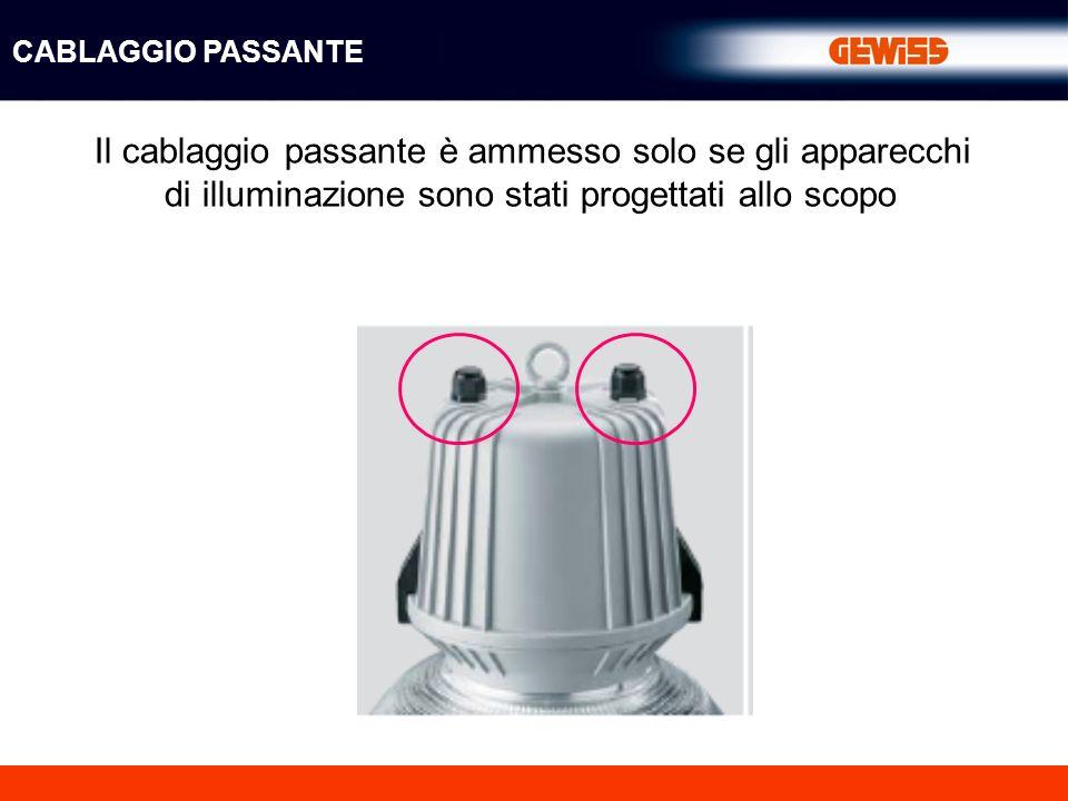 Il cablaggio passante è ammesso solo se gli apparecchi di illuminazione sono stati progettati allo scopo CABLAGGIO PASSANTE