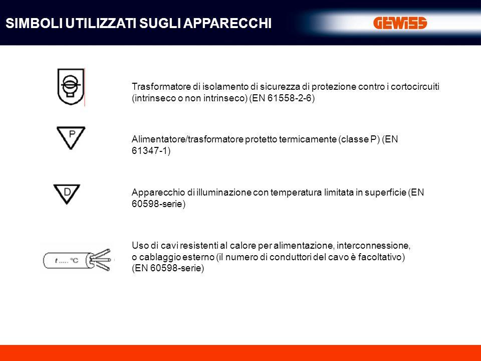 Trasformatore di isolamento di sicurezza di protezione contro i cortocircuiti (intrinseco o non intrinseco) (EN 61558-2-6) Alimentatore/trasformatore protetto termicamente (classe P) (EN 61347-1) Apparecchio di illuminazione con temperatura limitata in superficie (EN 60598-serie) Uso di cavi resistenti al calore per alimentazione, interconnessione, o cablaggio esterno (il numero di conduttori del cavo è facoltativo) (EN 60598-serie) SIMBOLI UTILIZZATI SUGLI APPARECCHI