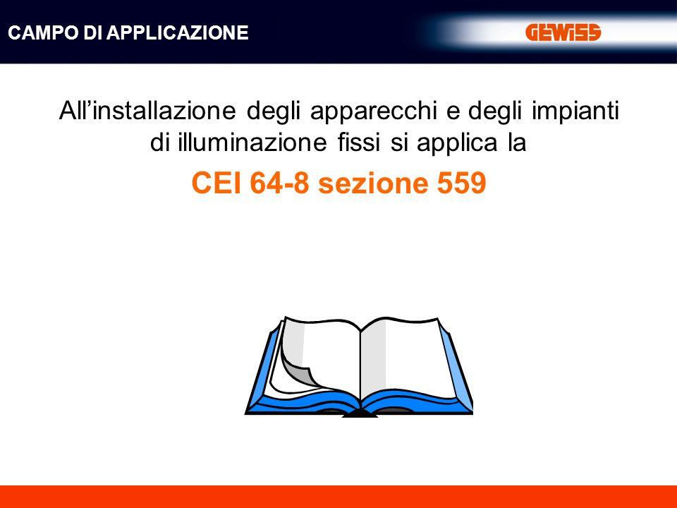 Allinstallazione degli apparecchi e degli impianti di illuminazione fissi si applica la CEI 64-8 sezione 559 CAMPO DI APPLICAZIONE