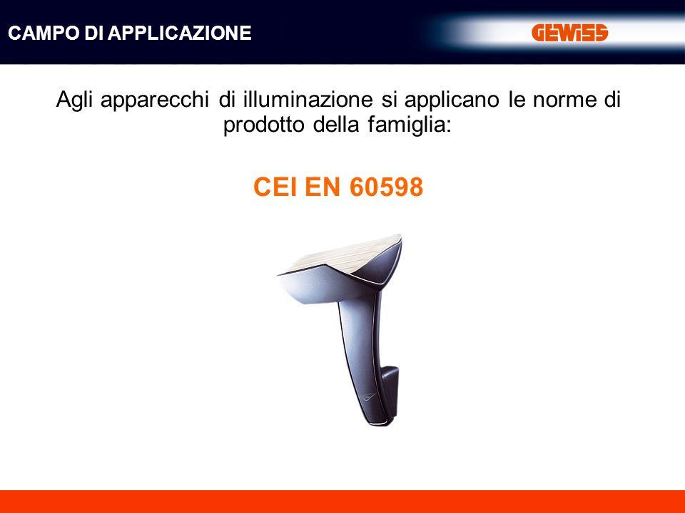 Agli apparecchi di illuminazione si applicano le norme di prodotto della famiglia: CEI EN 60598 CAMPO DI APPLICAZIONE