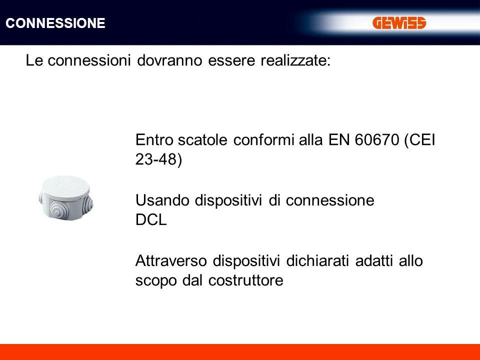 Le connessioni dovranno essere realizzate: Entro scatole conformi alla EN 60670 (CEI 23-48) Usando dispositivi di connessione DCL Attraverso dispositivi dichiarati adatti allo scopo dal costruttore CONNESSIONE