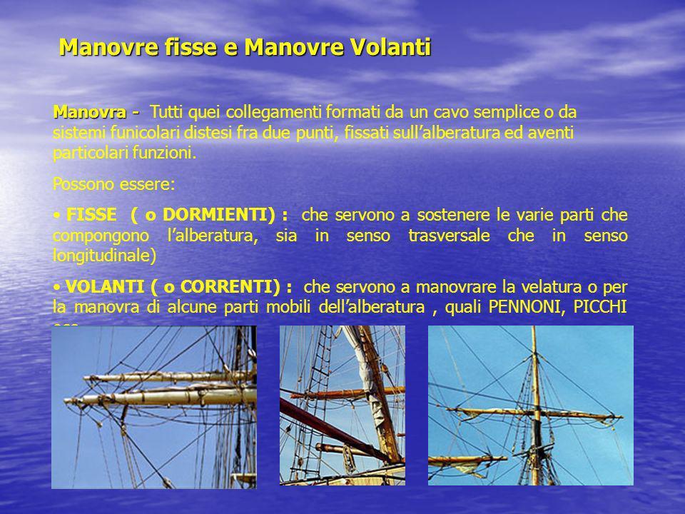 Manovre fisse e Manovre Volanti Manovra - Manovra - Tutti quei collegamenti formati da un cavo semplice o da sistemi funicolari distesi fra due punti,