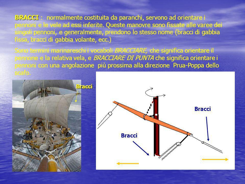 BRACCI BRACCI : normalmente costituita da paranchi, servono ad orientare i pennoni e le vele ad essi inferite. Queste manovre sono fissate alle varee