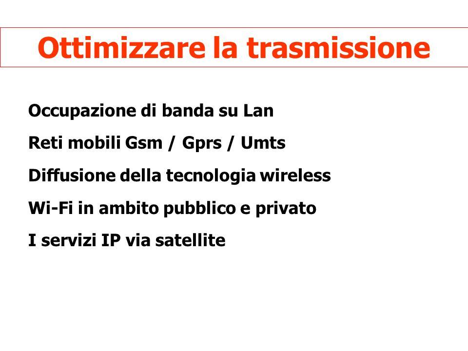 Ottimizzare la trasmissione Occupazione di banda su Lan Reti mobili Gsm / Gprs / Umts Diffusione della tecnologia wireless Wi-Fi in ambito pubblico e privato I servizi IP via satellite