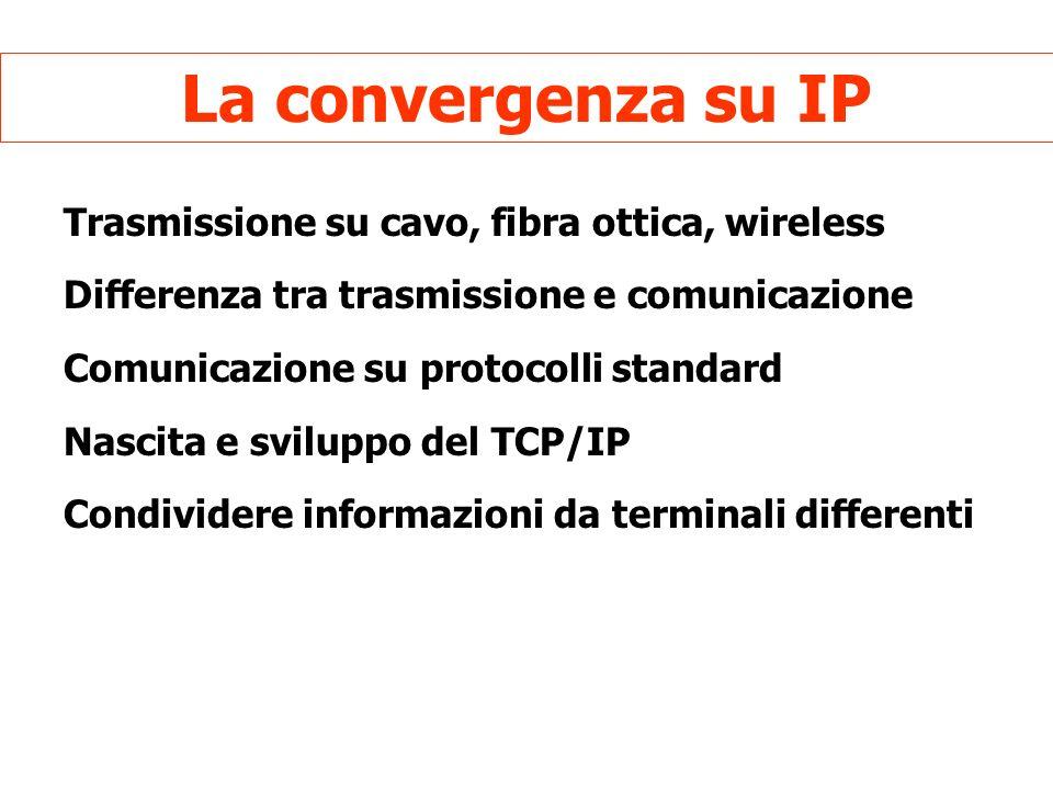La convergenza su IP Trasmissione su cavo, fibra ottica, wireless Differenza tra trasmissione e comunicazione Comunicazione su protocolli standard Nascita e sviluppo del TCP/IP Condividere informazioni da terminali differenti