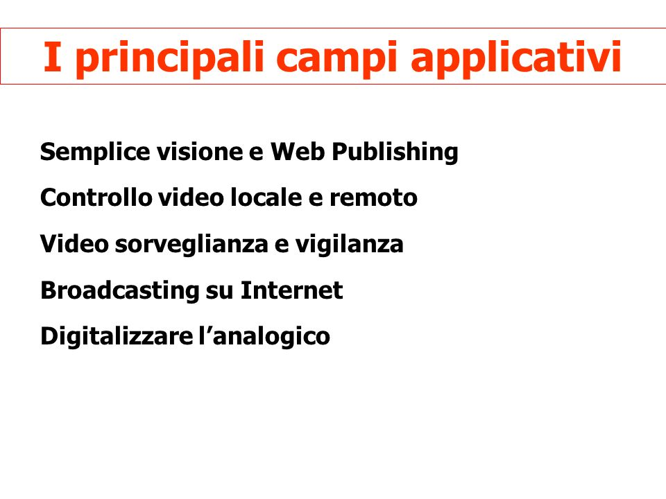 I principali campi applicativi Semplice visione e Web Publishing Controllo video locale e remoto Video sorveglianza e vigilanza Broadcasting su Internet Digitalizzare lanalogico