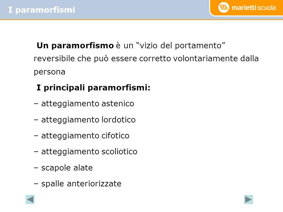 Un paramorfismo è un vizio del portamento reversibile che può essere corretto volontariamente dalla persona I principali paramorfismi: – atteggiamento