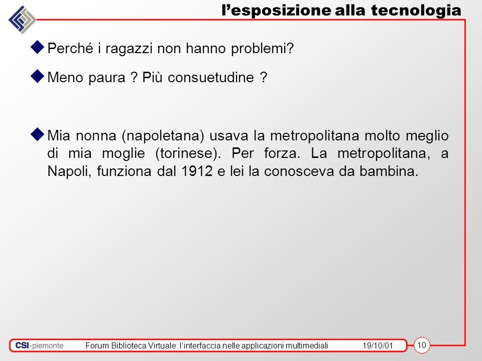 Forum Biblioteca Virtuale: linterfaccia nelle applicazioni multimediali19/10/01 10 lesposizione alla tecnologia Perché i ragazzi non hanno problemi? M