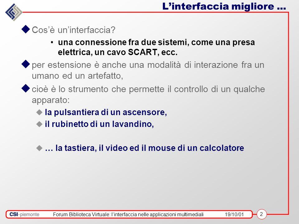 Forum Biblioteca Virtuale: linterfaccia nelle applicazioni multimediali19/10/01 2 Linterfaccia migliore... Cosè uninterfaccia? una connessione fra due
