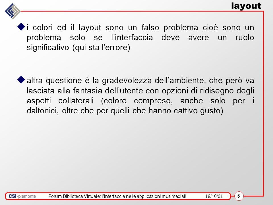 Forum Biblioteca Virtuale: linterfaccia nelle applicazioni multimediali19/10/01 6 layout i colori ed il layout sono un falso problema cioè sono un pro
