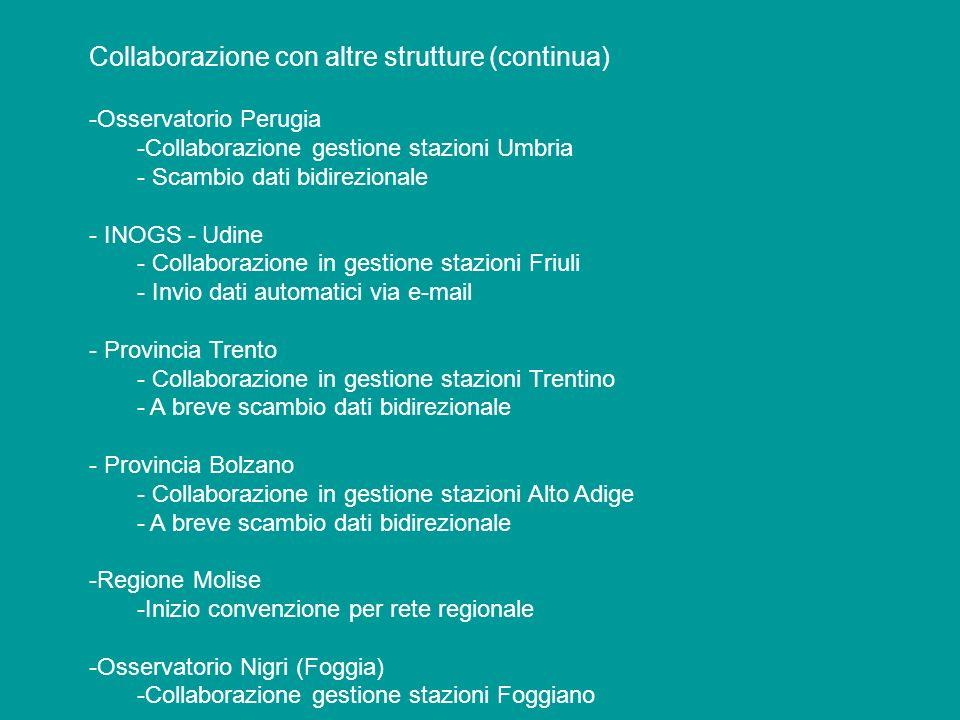 Collaborazione con altre strutture (continua) -Osservatorio Perugia -Collaborazione gestione stazioni Umbria - Scambio dati bidirezionale - INOGS - Ud