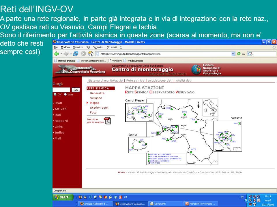 Reti dellINGV-OV A parte una rete regionale, in parte già integrata e in via di integrazione con la rete naz., OV gestisce reti su Vesuvio, Campi Fleg