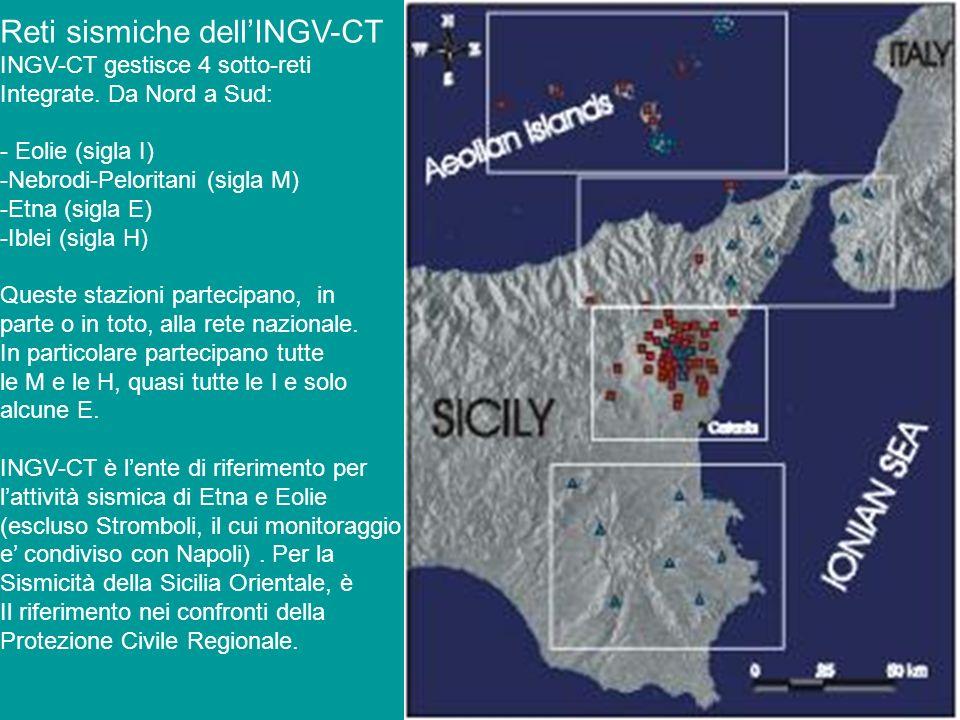 Reti sismiche dellINGV-CT INGV-CT gestisce 4 sotto-reti Integrate. Da Nord a Sud: - Eolie (sigla I) -Nebrodi-Peloritani (sigla M) -Etna (sigla E) -Ibl