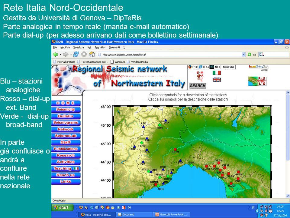 Rete Italia Nord-Occidentale Gestita da Università di Genova – DipTeRis Parte analogica in tempo reale (manda e-mail automatico) Parte dial-up (per ad