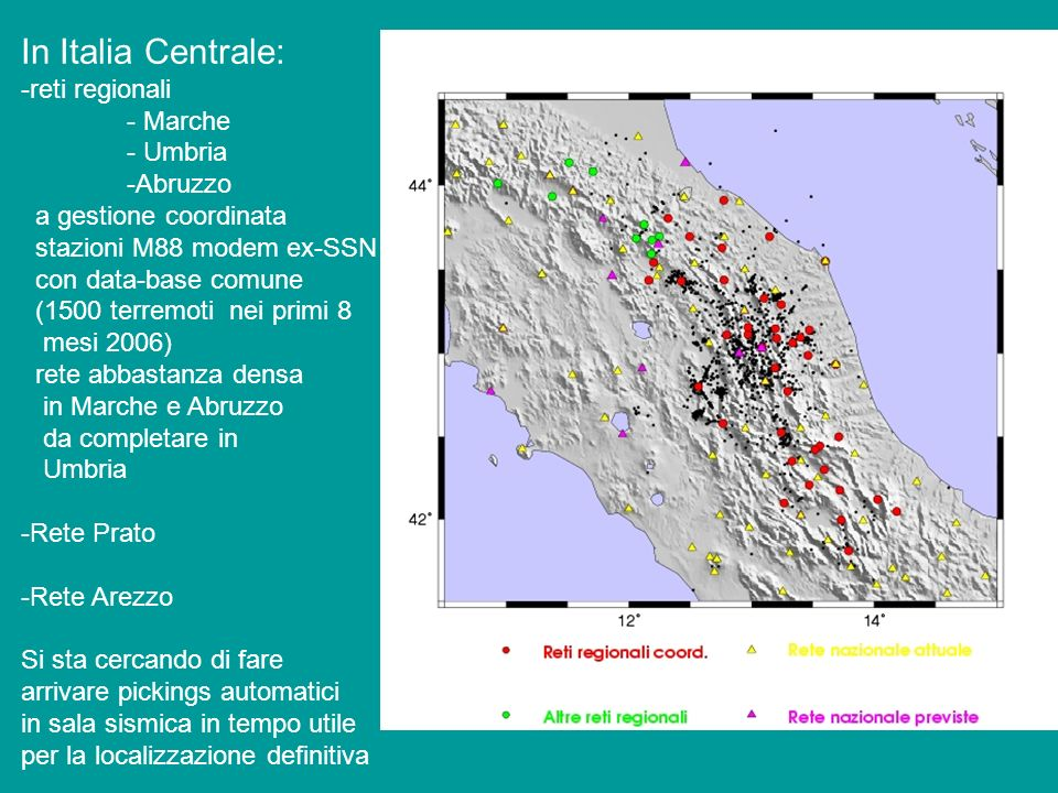 In Italia Centrale: -reti regionali - Marche - Umbria -Abruzzo a gestione coordinata stazioni M88 modem ex-SSN con data-base comune (1500 terremoti ne
