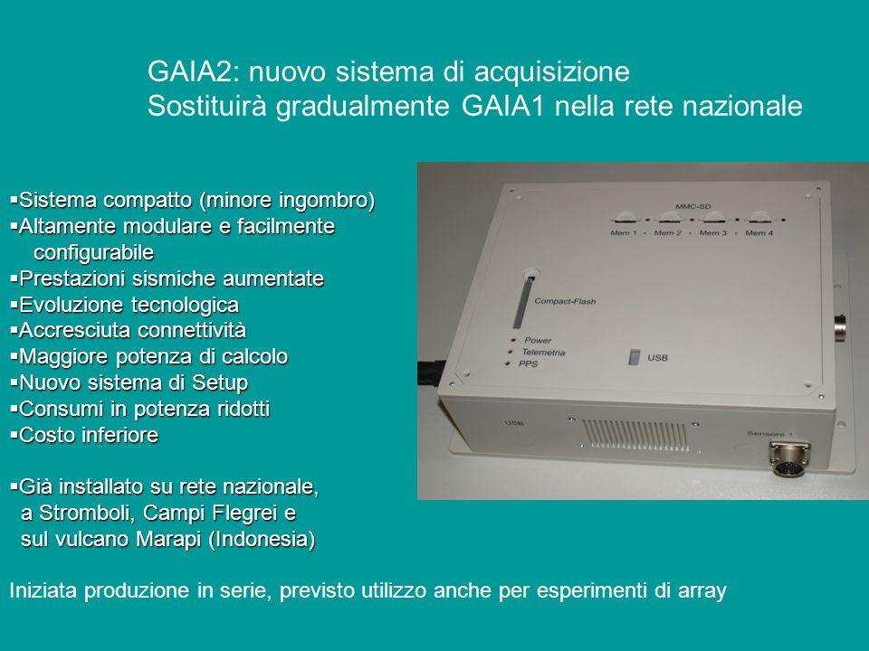 GAIA2: nuovo sistema di acquisizione Sostituirà gradualmente GAIA1 nella rete nazionale Sistema compatto (minore ingombro) Sistema compatto (minore in