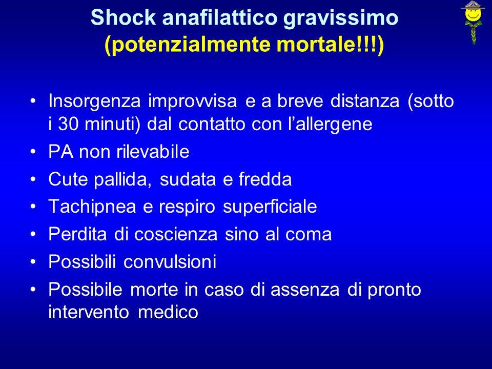 Shock anafilattico gravissimo (potenzialmente mortale!!!) Insorgenza improvvisa e a breve distanza (sotto i 30 minuti) dal contatto con lallergene PA