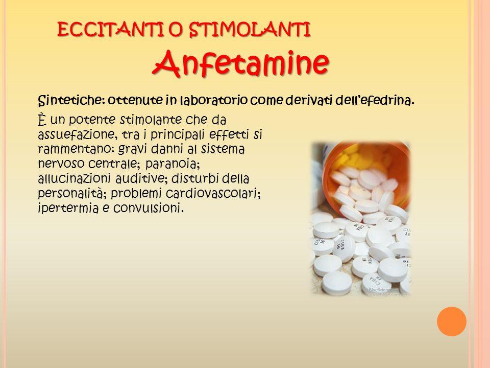 ECCITANTI O STIMOLANTI Anfetamine Sintetiche: ottenute in laboratorio come derivati dellefedrina. È un potente stimolante che da assuefazione, tra i p