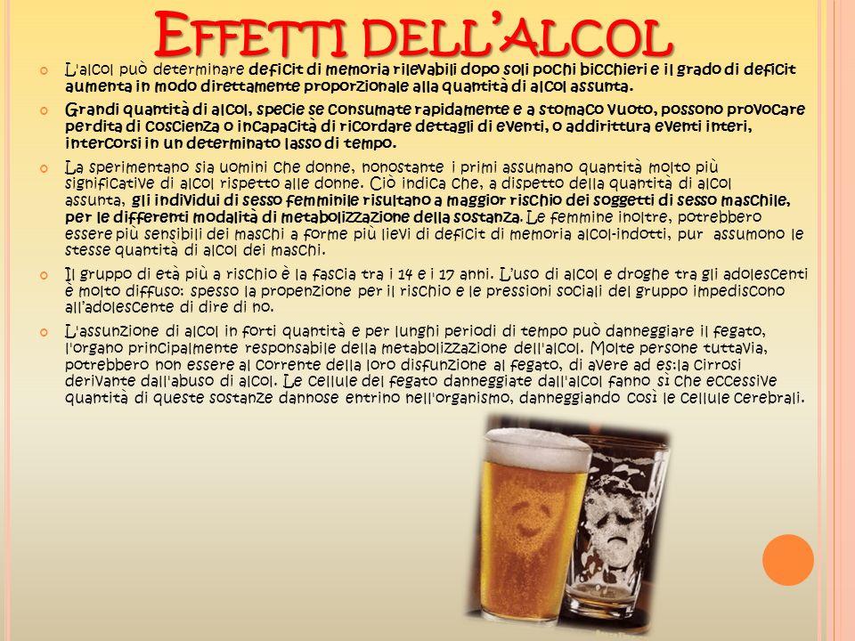 E FFETTI DELL ALCOL L'alcol può determinare deficit di memoria rilevabili dopo soli pochi bicchieri e il grado di deficit aumenta in modo direttamente