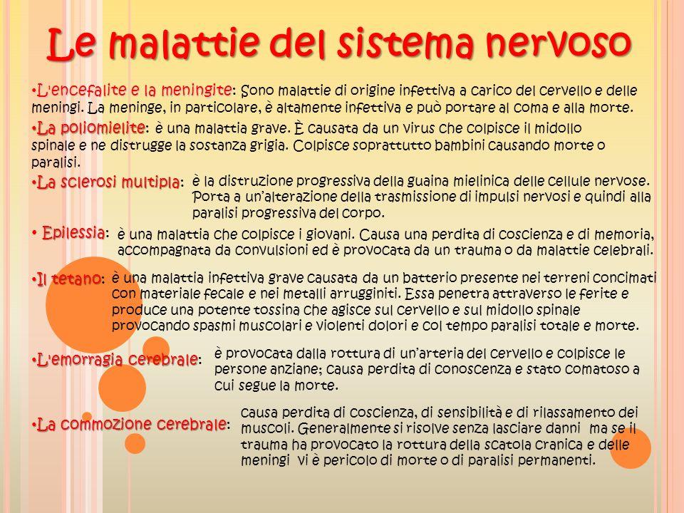 Le malattie del sistema nervoso L'encefalite e la meningite L'encefalite e la meningite: Sono malattie di origine infettiva a carico del cervello e de