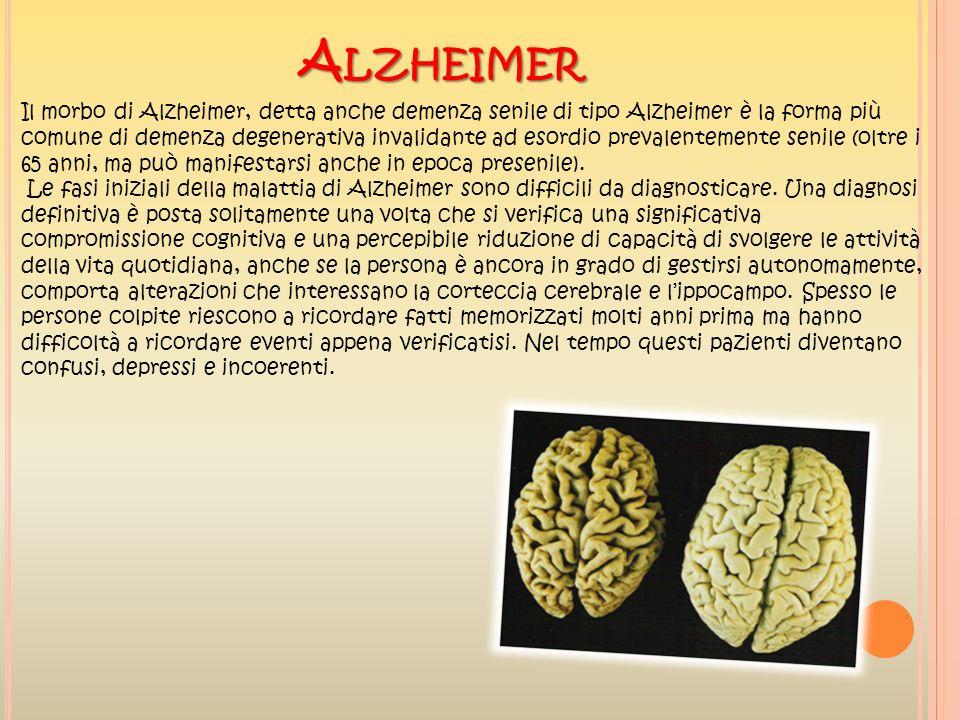 A LZHEIMER Il morbo di Alzheimer, detta anche demenza senile di tipo Alzheimer è la forma più comune di demenza degenerativa invalidante ad esordio pr