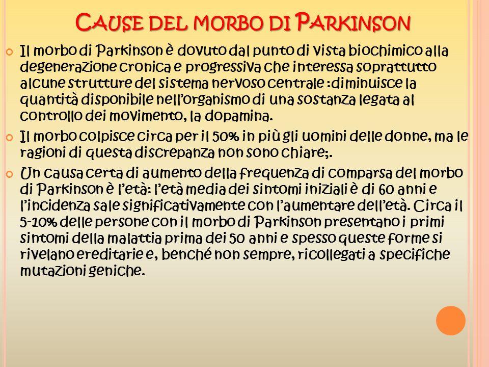 C AUSE DEL MORBO DI P ARKINSON Il morbo di Parkinson è dovuto dal punto di vista biochimico alla degenerazione cronica e progressiva che interessa sop