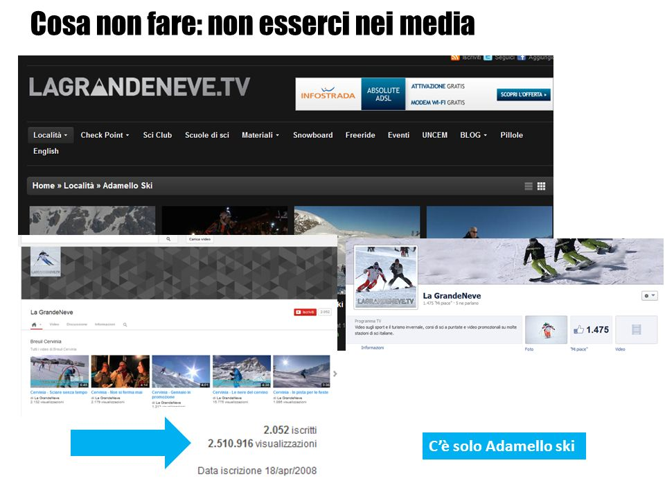 Cè solo Adamello ski Cosa non fare: non esserci nei media
