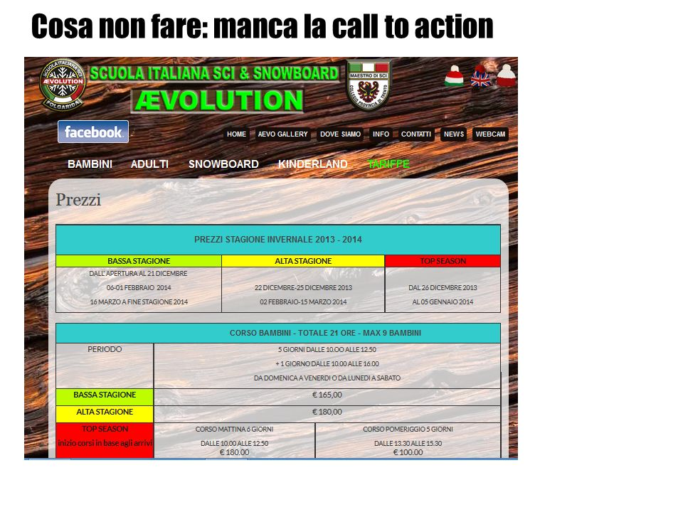 Cosa non fare: manca la call to action