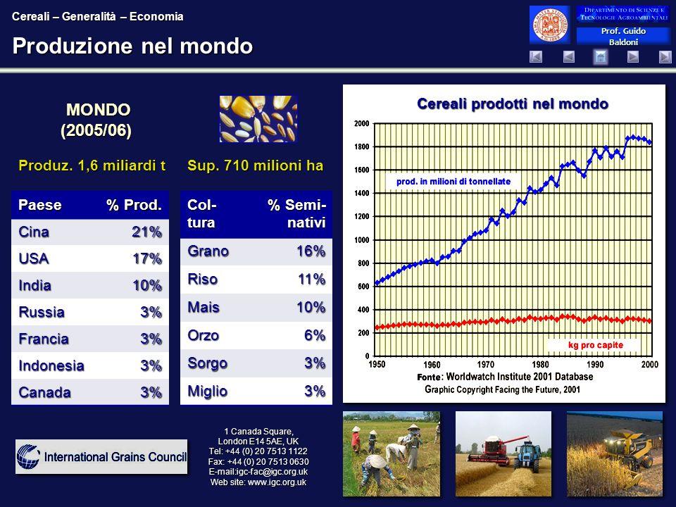 Prof. Guido Baldoni Prof. Guido Baldoni Produzione nel mondo MONDO (2005/06) MONDO (2005/06) Cereali prodotti nel mondo 1 Canada Square, London E14 5A