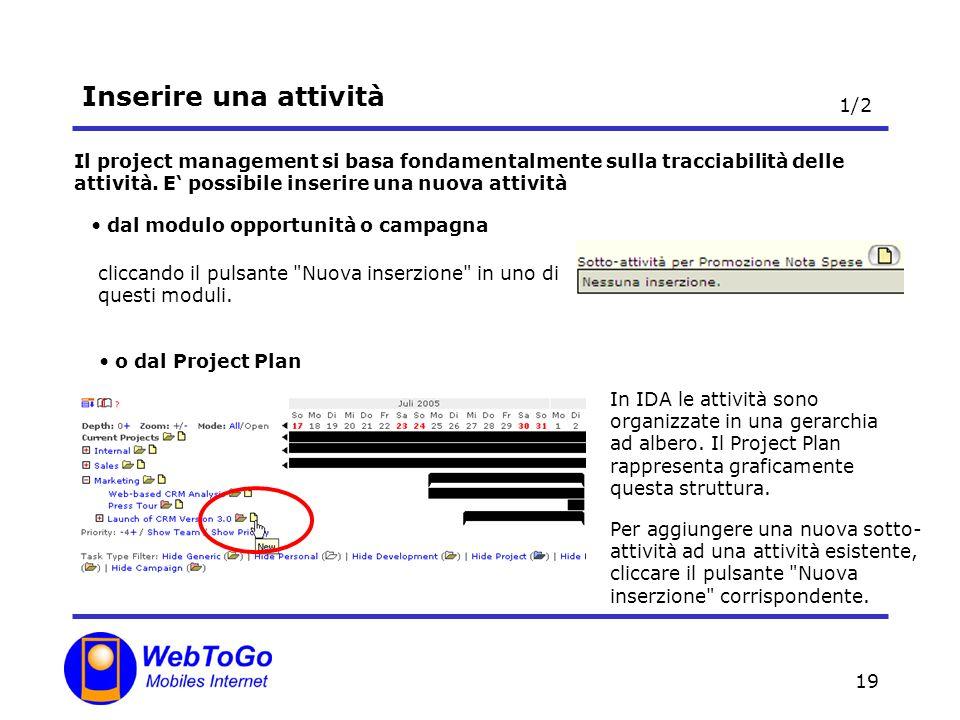 19 Inserire una attività Il project management si basa fondamentalmente sulla tracciabilità delle attività. E possibile inserire una nuova attività cl