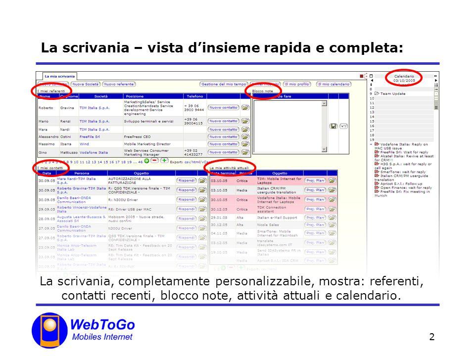 2 La scrivania – vista dinsieme rapida e completa: La scrivania, completamente personalizzabile, mostra: referenti, contatti recenti, blocco note, att