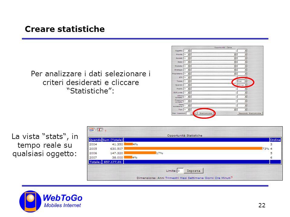 22 Creare statistiche Per analizzare i dati selezionare i criteri desiderati e cliccare Statistiche: La vista stats, in tempo reale su qualsiasi oggetto: