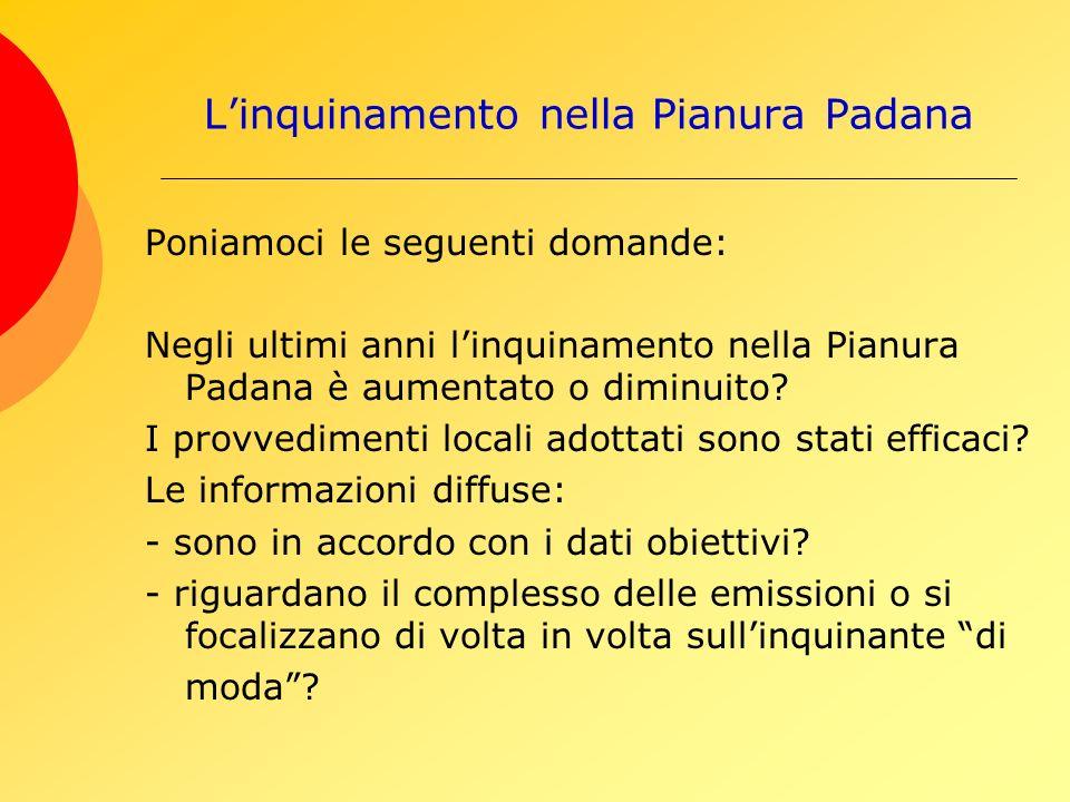 Linquinamento nella Pianura Padana Poniamoci le seguenti domande: Negli ultimi anni linquinamento nella Pianura Padana è aumentato o diminuito.