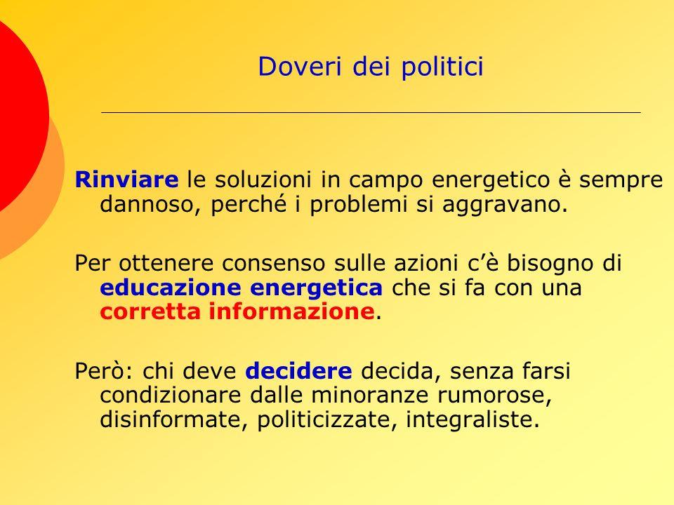 Doveri dei politici Rinviare le soluzioni in campo energetico è sempre dannoso, perché i problemi si aggravano.