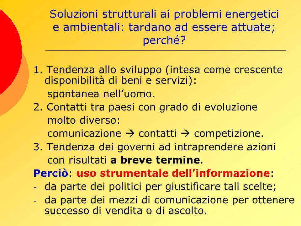 Soluzioni strutturali ai problemi energetici e ambientali: tardano ad essere attuate; perché.