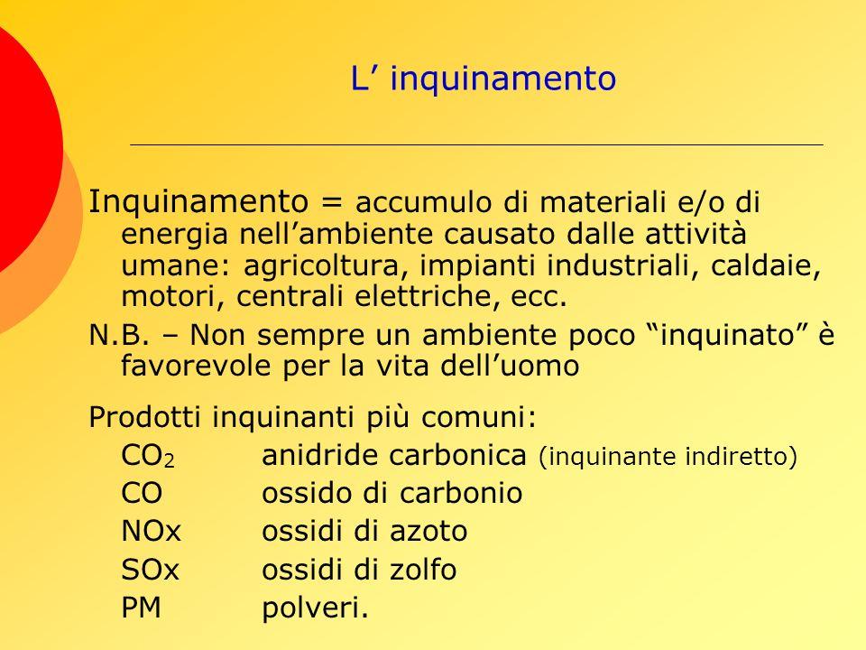 L inquinamento Inquinamento = accumulo di materiali e/o di energia nellambiente causato dalle attività umane: agricoltura, impianti industriali, caldaie, motori, centrali elettriche, ecc.