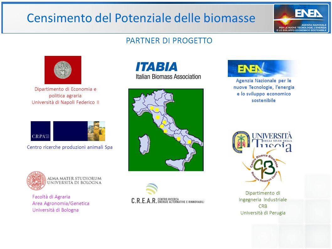 Censimento del Potenziale delle biomasse PARTNER DI PROGETTO Dipartimento di Economia e politica agraria Università di Napoli Federico II Dipartimento