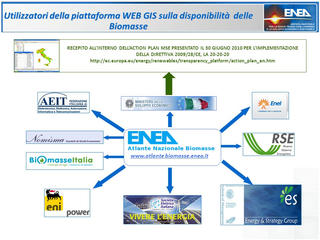 Utilizzatori della piattaforma WEB GIS sulla disponibilità delle Biomasse Green Power www.atlante biomasse.enea.it RECEPITO ALLINTERNO DELLACTION PLAN MSE PRESENTATO IL 30 GIUGNO 2010 PER LIMPLEMENTAZIONE DELLA DIRETTIVA 2009/28/CE, LA 20-20-20 http://ec.europa.eu/energy/renewables/transparency_platform/action_plan_en.htm