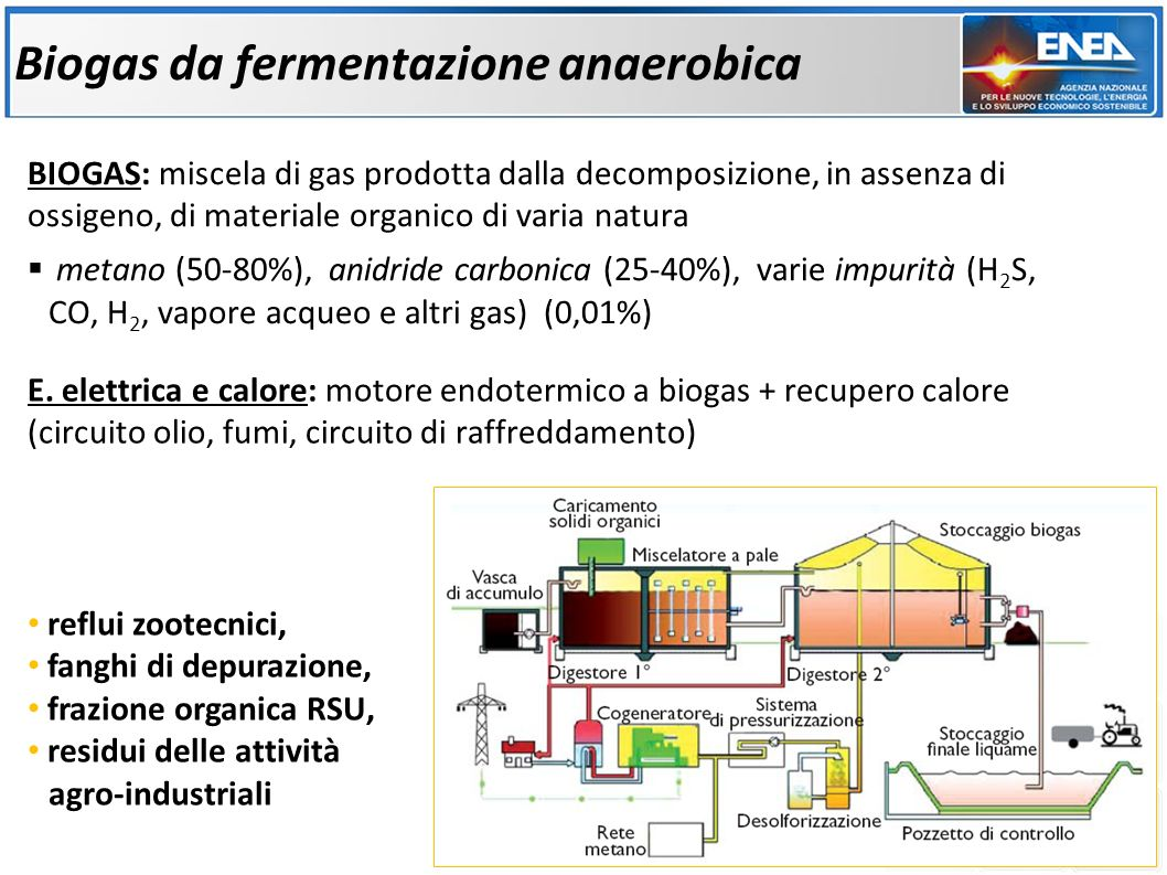 BIOGAS: miscela di gas prodotta dalla decomposizione, in assenza di ossigeno, di materiale organico di varia natura metano (50-80%), anidride carbonica (25-40%), varie impurità (H 2 S, CO, H 2, vapore acqueo e altri gas) (0,01%) Biogas da fermentazione anaerobica reflui zootecnici, fanghi di depurazione, frazione organica RSU, residui delle attività agro-industriali E.