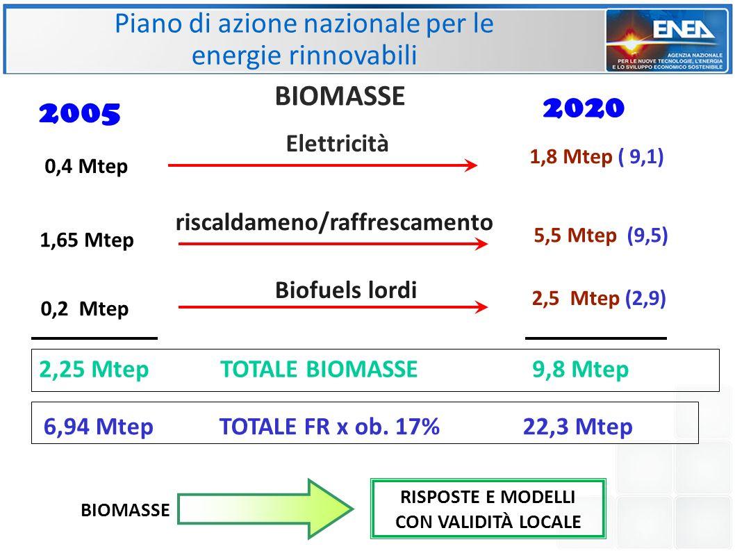Piano di azione nazionale per le energie rinnovabili 2,25 Mtep TOTALE BIOMASSE 9,8 Mtep 0,4 Mtep 1,65 Mtep 1,8 Mtep ( 9,1) 5,5 Mtep (9,5) riscaldameno/raffrescamento Elettricità 2005 2020 Biofuels lordi 0,2 Mtep 2,5 Mtep (2,9) BIOMASSE 6,94 Mtep TOTALE FR x ob.