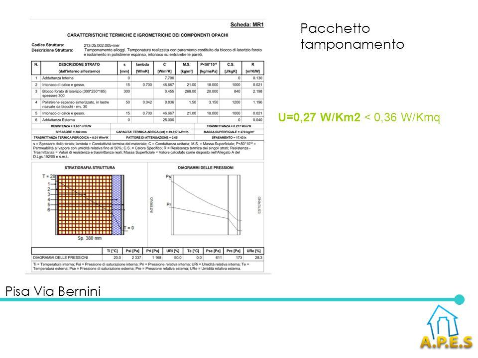 Pisa Via Bernini Impianti Impianti solari termici Impianto ACS con accumulo da 1000 litri, integrato da 8,40 mq di pannelli solari termici (4 pannelli da 2,10 mq) per una quota del 51.11% (producibilità 8430 kWh/anno).