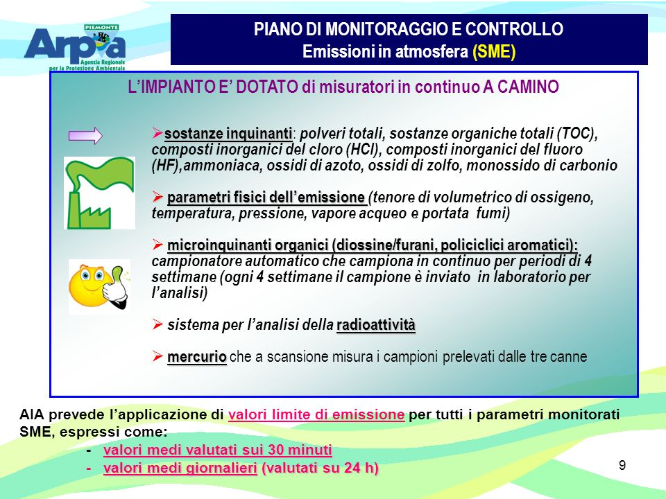 9 PIANO DI MONITORAGGIO E CONTROLLO Emissioni in atmosfera (SME) LIMPIANTO E DOTATO di misuratori in continuo A CAMINO sostanze inquinanti sostanze inquinanti : polveri totali, sostanze organiche totali (TOC), composti inorganici del cloro (HCl), composti inorganici del fluoro (HF),ammoniaca, ossidi di azoto, ossidi di zolfo, monossido di carbonio parametri fisici dellemissione parametri fisici dellemissione (tenore di volumetrico di ossigeno, temperatura, pressione, vapore acqueo e portata fumi) microinquinanti organici (diossine/furani, policiclici aromatici): microinquinanti organici (diossine/furani, policiclici aromatici): campionatore automatico che campiona in continuo per periodi di 4 settimane (ogni 4 settimane il campione è inviato in laboratorio per lanalisi) radioattività sistema per lanalisi della radioattività mercurio mercurio che a scansione misura i campioni prelevati dalle tre canne AIA prevede lapplicazione di valori limite di emissione per tutti i parametri monitorati SME, espressi come: valori medi valutati sui 30 minuti - valori medi valutati sui 30 minuti valori medi giornalieri (valutati su 24 h) - valori medi giornalieri (valutati su 24 h)