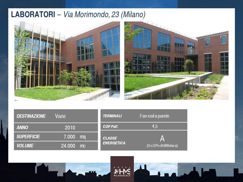 DESTINAZIONE Varie ANNO 2010 SUPERFICIE 7.000mq VOLUME 24.000mc LABORATORI – Via Morimondo, 23 (Milano) TERMINALI Fan-coil a parete COP PdC 4,5 CLASSE